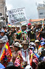 """FIg 10.30/photo of indigenous protesting to protect their land - or an image of an indigenous/industrial clash/conflict - perhaps los mapuche, or easter island indigenous protest , or something similar<br /> <br /> Choice 9 of 14<br /> <br /> Protesters in traditional dress of the Aymara Indians with banner """"Bolivia, Capital de la Dignidad"""", """"Bolivia, Center of dignity"""" during the re-election ceremony of President Evo Morales Ayma, second term, Plaza Murillo, La Paz, Bolivia, South America (Newscom TagID: ibpremium362061) [Photo via Newscom]"""