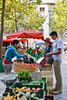 Chapter 6, Local food movement or urban farm<br /> <br /> Choice 6 of 12<br /> <br /> Couple shopping in local market. --- Image by © Strauss/Curtis/Corbis